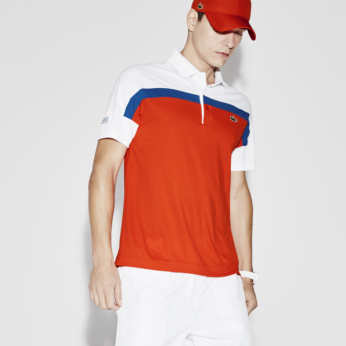 a9e0fbbff6 Polos 902lacoste canada bags Lacoste Sport Ultra Dry Color Block Tennis Polo  Ember Victorian-White