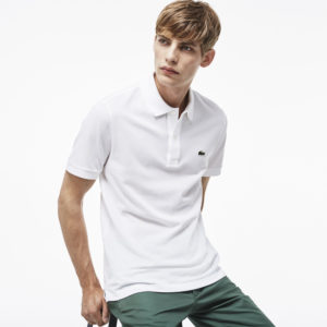 Polos 878 WHITE Slim Fit Pique Polo Lacoste at_LRG