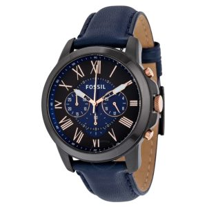 dong-ho-fossil-grant-chronograph-black-and-blue-dial