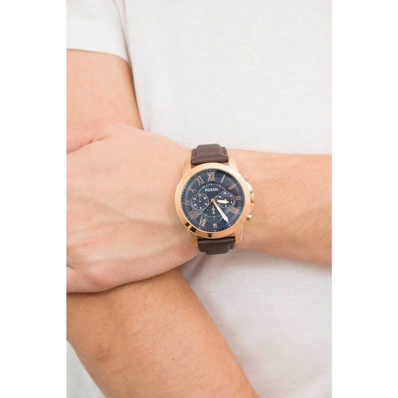 dong-ho-fossil-grant-chronograph-blue-and-brown-dial